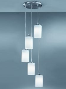 CO9575/727 Modern pendant  5 light spiral, satin nickel & opal glass