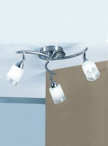 DP40023 Campani 3 lights on a plate in silver with clear/acid glasses.