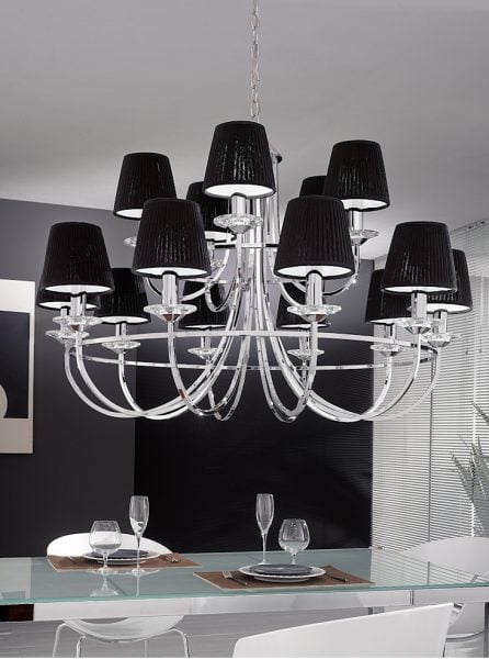 1113 Large candle-clip lampshade pleated black silk