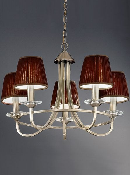 FL2147/5 Carousel large scale 5 light chandelier, soft bronze & crystal
