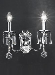 FL2155/2 Taffeta double wall light, crystal and schrome