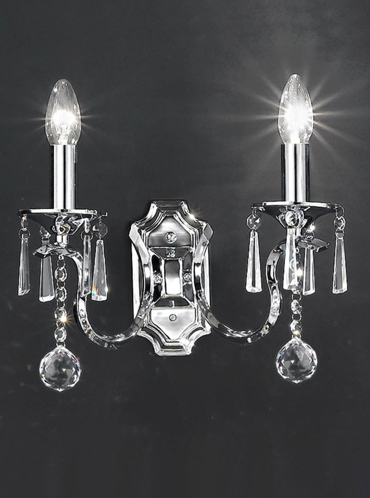 FL2155/2 Taffeta double wall light, crystal and schrome Lighting Bug Swindon