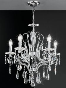 FL2156/5 Brocade 5 light chandelier, chrome and crystal