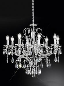 FL2156/8 Brocade 8 light chandelier, chrome and crystal