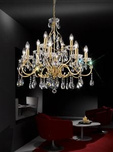 FL2159/12 Chiffon 12 light chandelier, gold and crystal