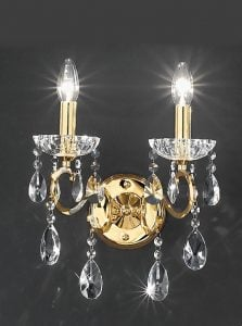 FL2159/2 Chiffon double wall light, gold and chrome