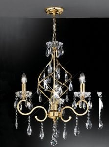 FL2159/3 Chiffon 3 light chandelier, gold and crystal