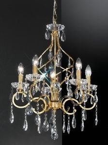 FL2159/5 Chiffon 5 light chandelier, gold and crystal