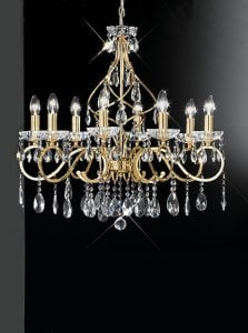 FL2159/8 Chiffon 8 light chandelier, gold and crystal