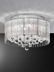 FL2160/6 Spirit small flush, chrome and crystal glass