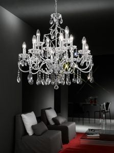 FL2188/12 Chiffon 12 light chandelier, chrome and crystal