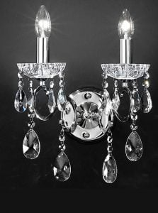 FL2188/2 Chiffon double wall light, crystal and chrome