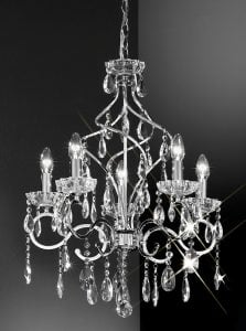 FL2188/5 Chiffon 5 light chandelier, chrome and crystal