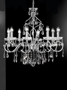 FL2188/8 Chiffon 8 light chandelier, chrome and crystal