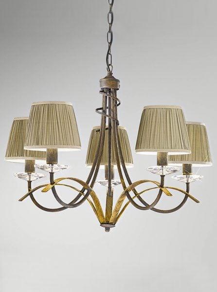 FL2232/5 Fusion Italian ironwork 5 light, antique finish & crystal