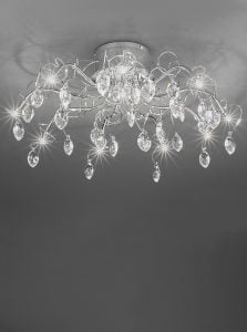 FL2234/10 Chantilly 10 light semi-flush, chrome and crystal