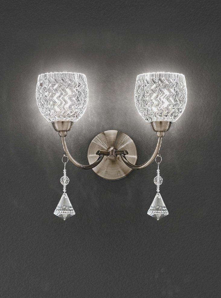 FL2293/2 Sherrie double wall light bronze with crystal drops Lighting Bug Swindon