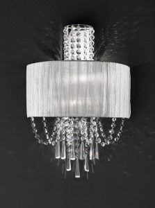 FL2303/2 Empress 2 light wall light, chrome & crystal with a fabric shade