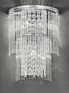 FL2309/3 Charisma two tier wall light, chrome and crystal glass