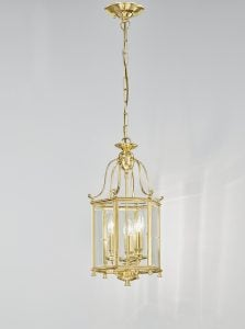 LA7006/3 Montpelier 3 light hexagonal lantern, polished brass with bevelled glass