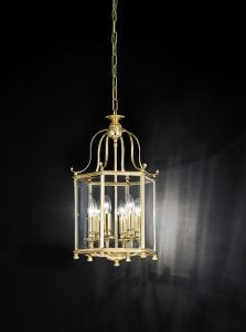 LA7006/6 Montpelier 6 light hexagonal lantern, polished brass with bevelled glass