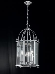 LA7008/3 Madison traditional 3 light lantern, chrome & glass