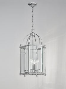 LA7008/4 Madison traditional 3 light lantern, chrome & glass