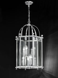 LA7008/8 Madison traditional 8 light lantern, chrome & glass
