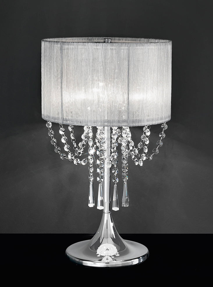 TL970 Empress table lamp, chrome & crystal with a fabric ...