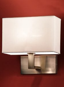 WB979/9892 Rectangle wall light, bronze & cream shade