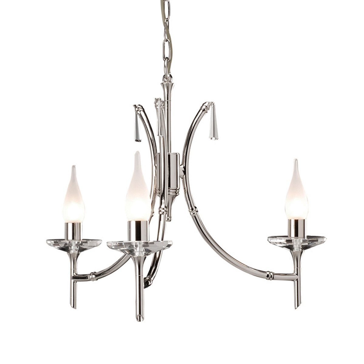 Elstead BR3 Brightwell 3 Light Chandelier in Polished Nickel