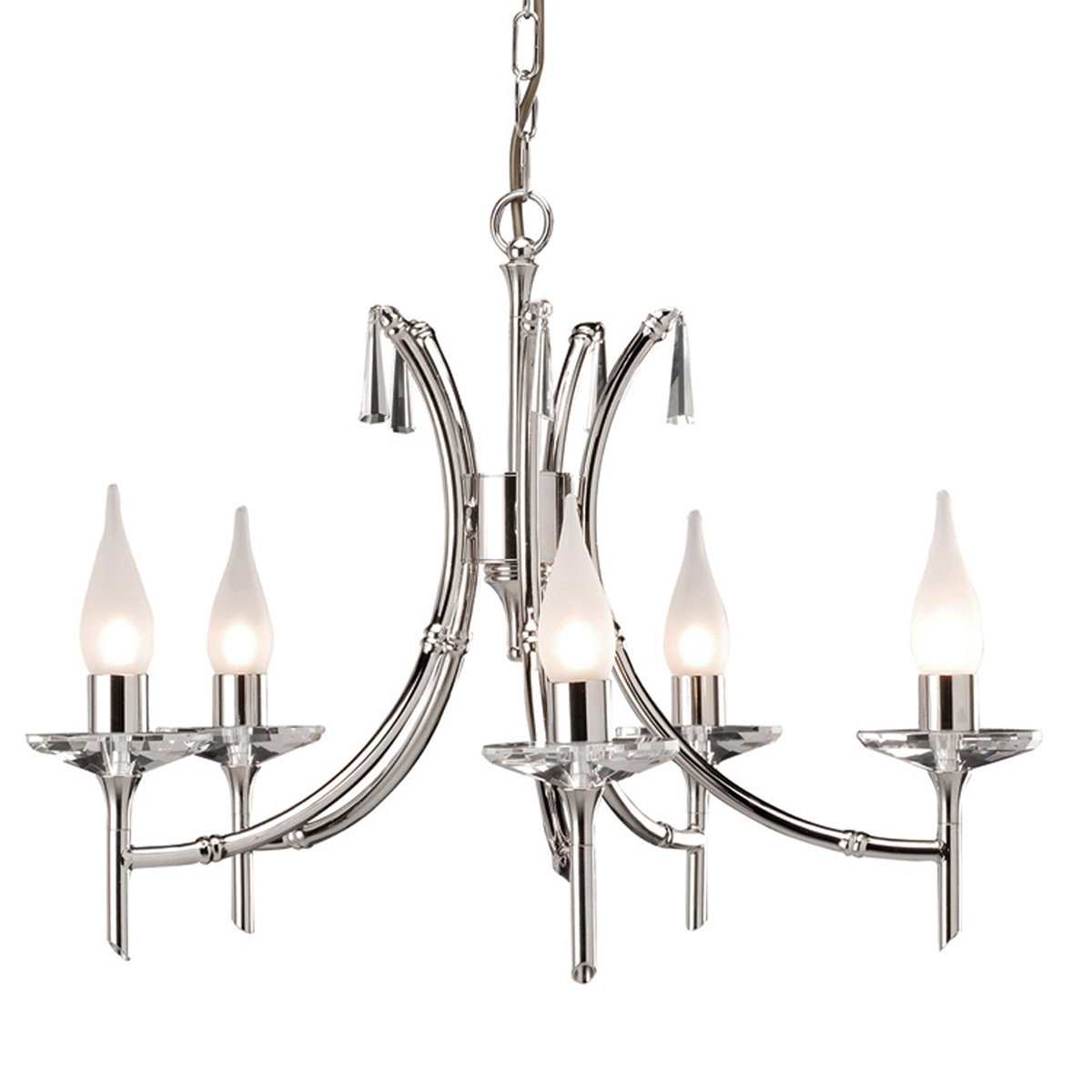 Elstead BR5 Brightwell 5 Light Chandelier in Polished Nickel