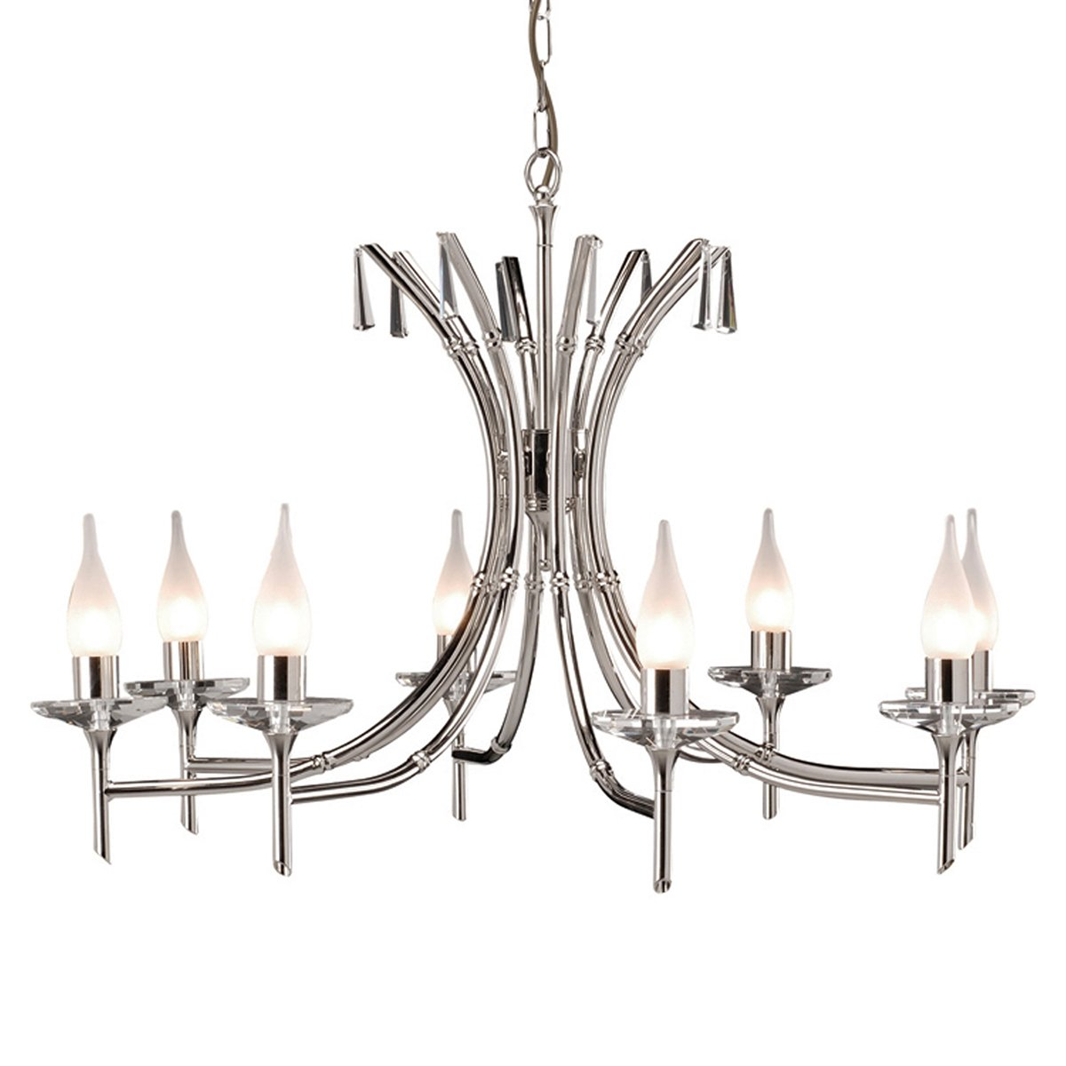 Elstead BR8 Brightwell 8 Light Chandelier in Polished Nickel