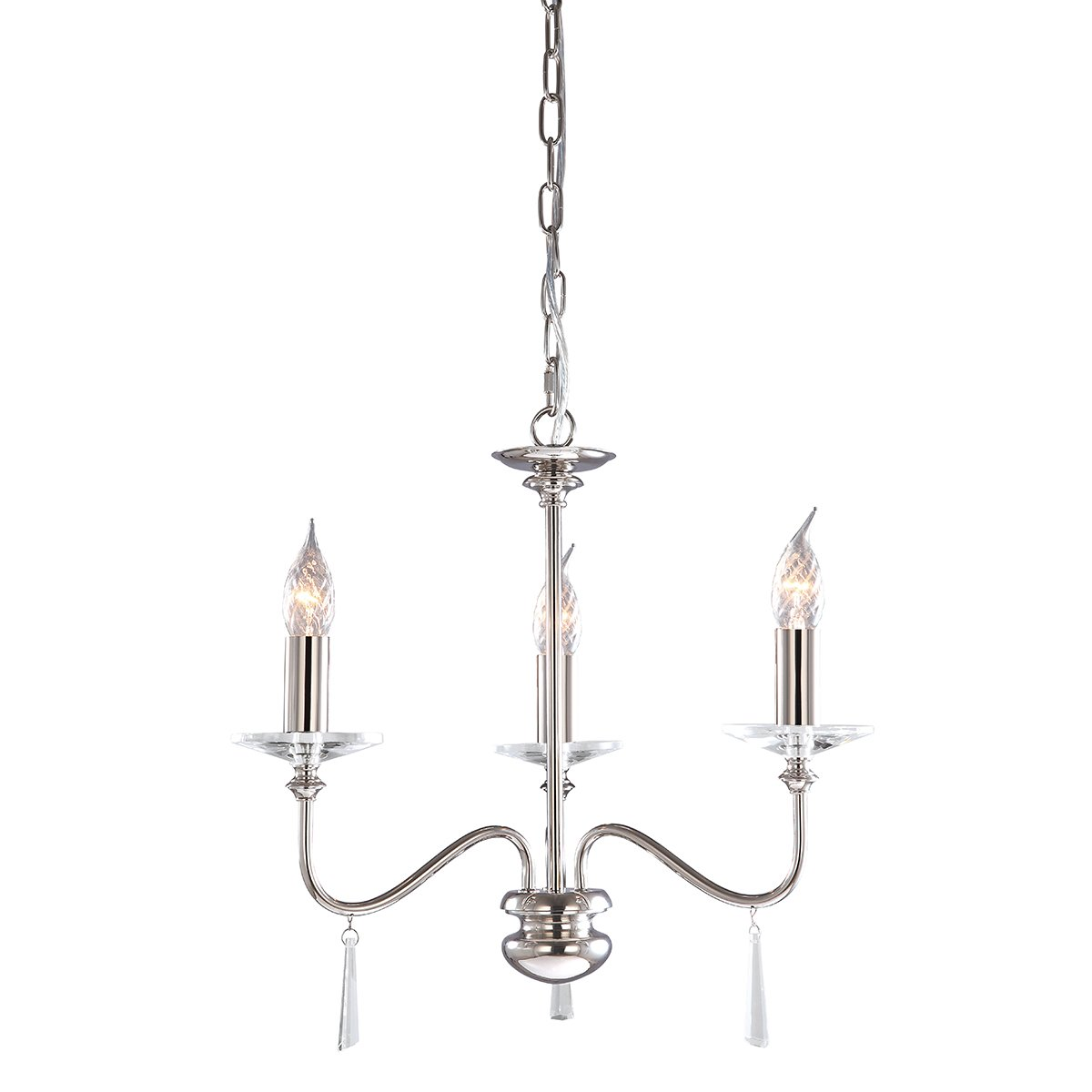 Elstead FP3-PN Finsbury Park 3lt Chandelier, Shades not Included in Polished Nickel