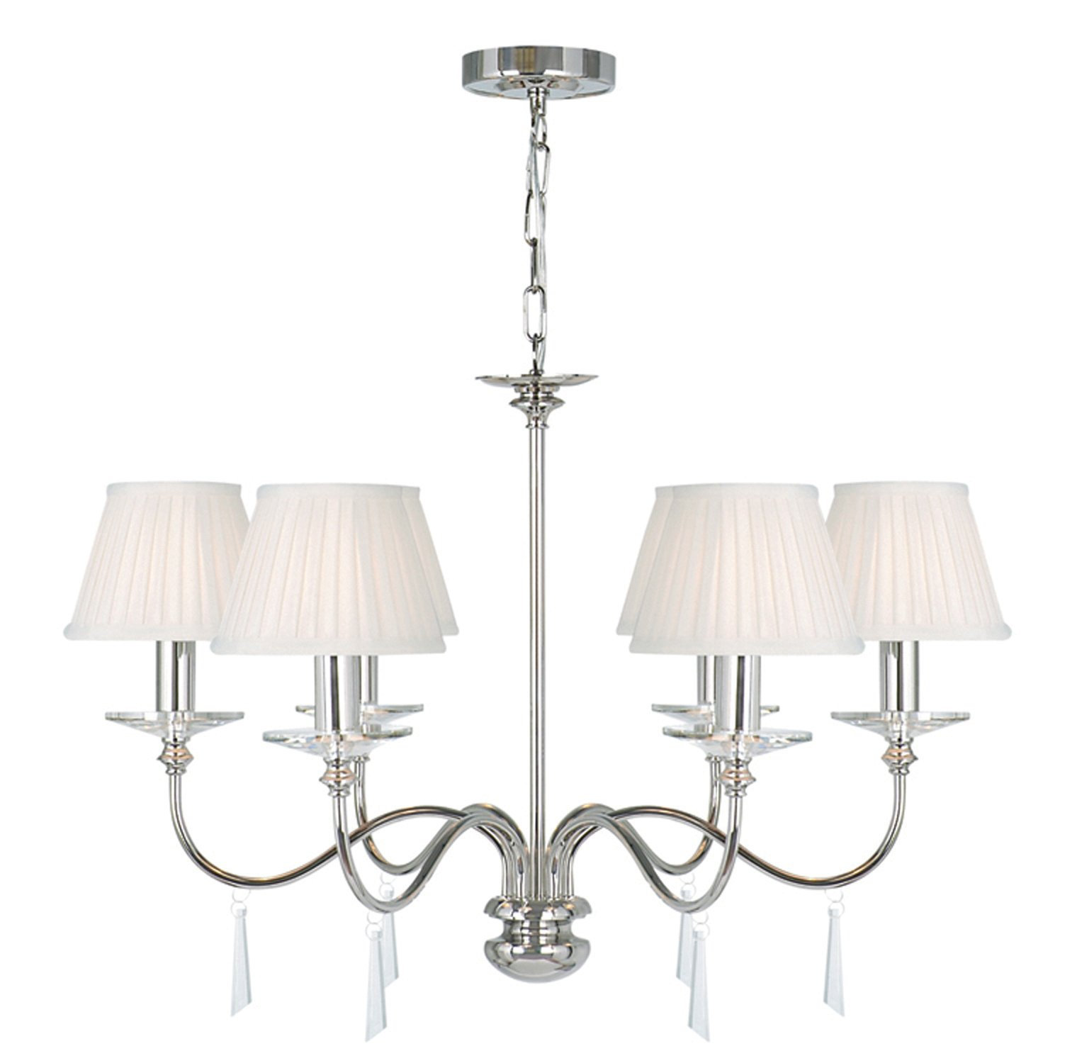 Elstead FP6-PN Finsbury Park 6lt Chandelier, Shades not Included in Polished Nickel