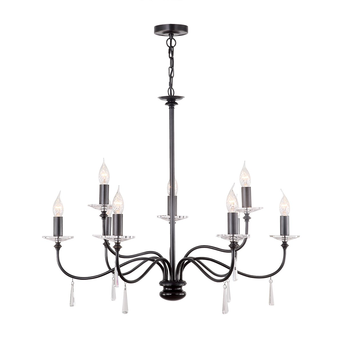 Elstead FP9-PN Finsbury Park 9lt Chandelier, Shades not Included in Old Bronze