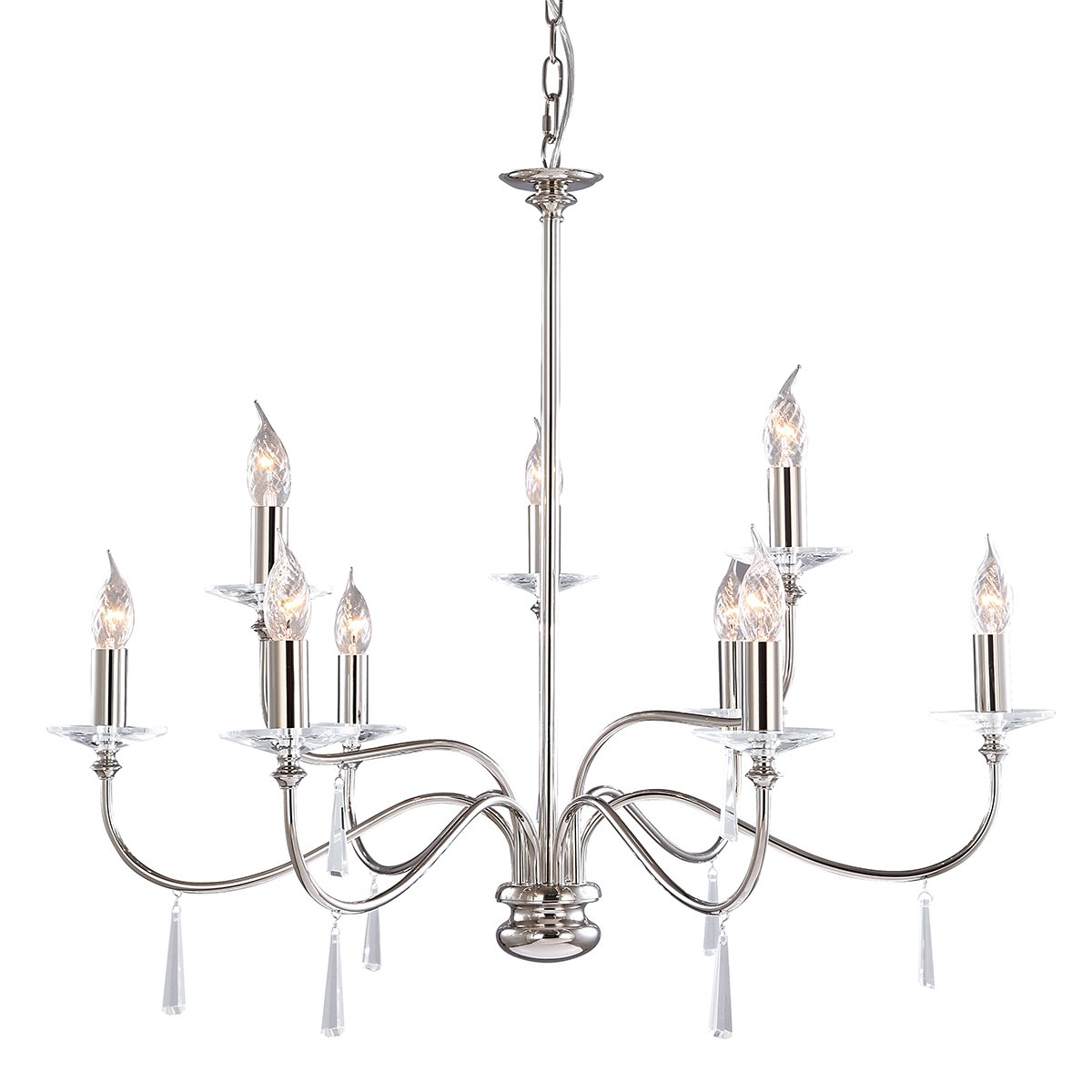 Elstead FP9-PN Finsbury Park 9lt Chandelier, Shades not Included in Polished Nickel