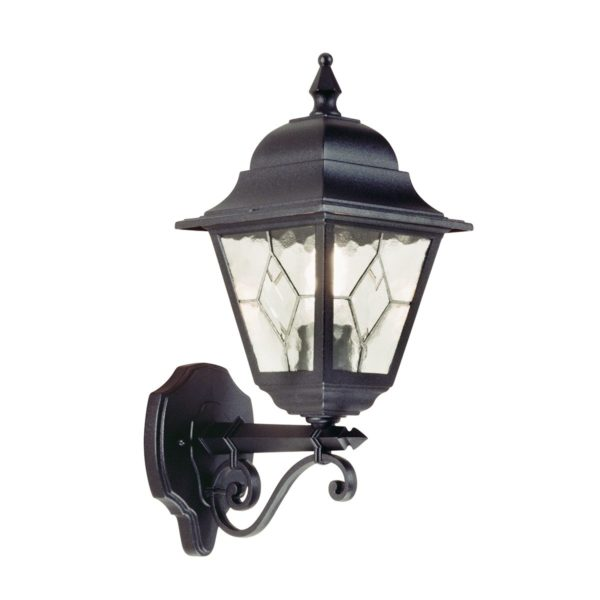 Elstead NR1 Norfolk Up Wall Leaded Lantern in Black
