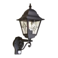 NR1-PIR Norfolk Up Wall Leaded Lantern + PIR in Black