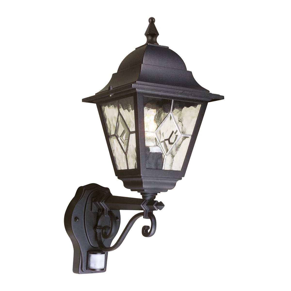 Elstead NR1-PIR Norfolk Up Wall Leaded Lantern   PIR in Black