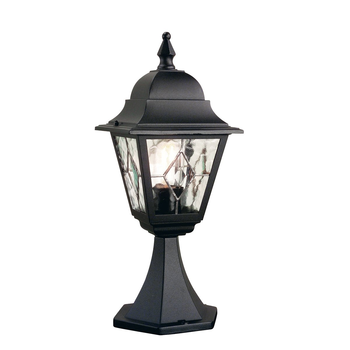 Elstead NR3 Norfolk Pedestal Leaded Lantern in Black