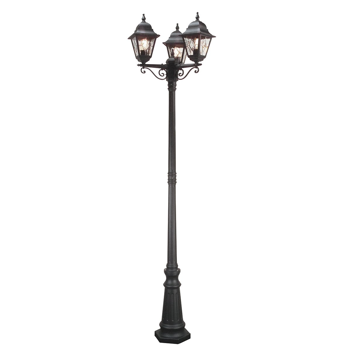 Elstead NR8 Norfolk Triple Headed Leaded Lantern Post in Black