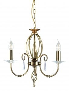 AG3-AB Aegean 3 Light Chandelier in Antique Brass