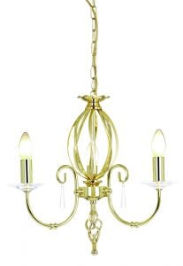 AG3-PB Aegean 3 Light Chandelier in Polished Brass