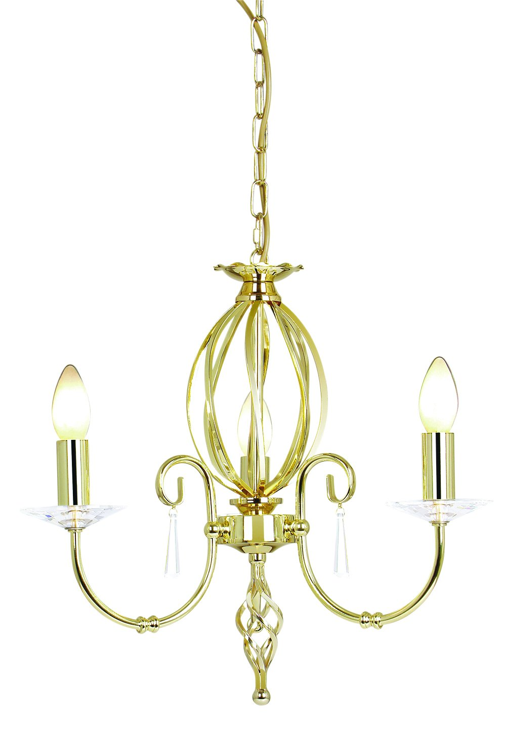 Elstead AG3-PB Aegean 3 Light Chandelier in Polished Brass