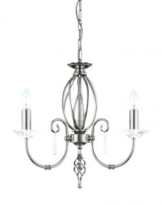 AG3-PN Aegean 3 Light Chandelier in Polished Nickel