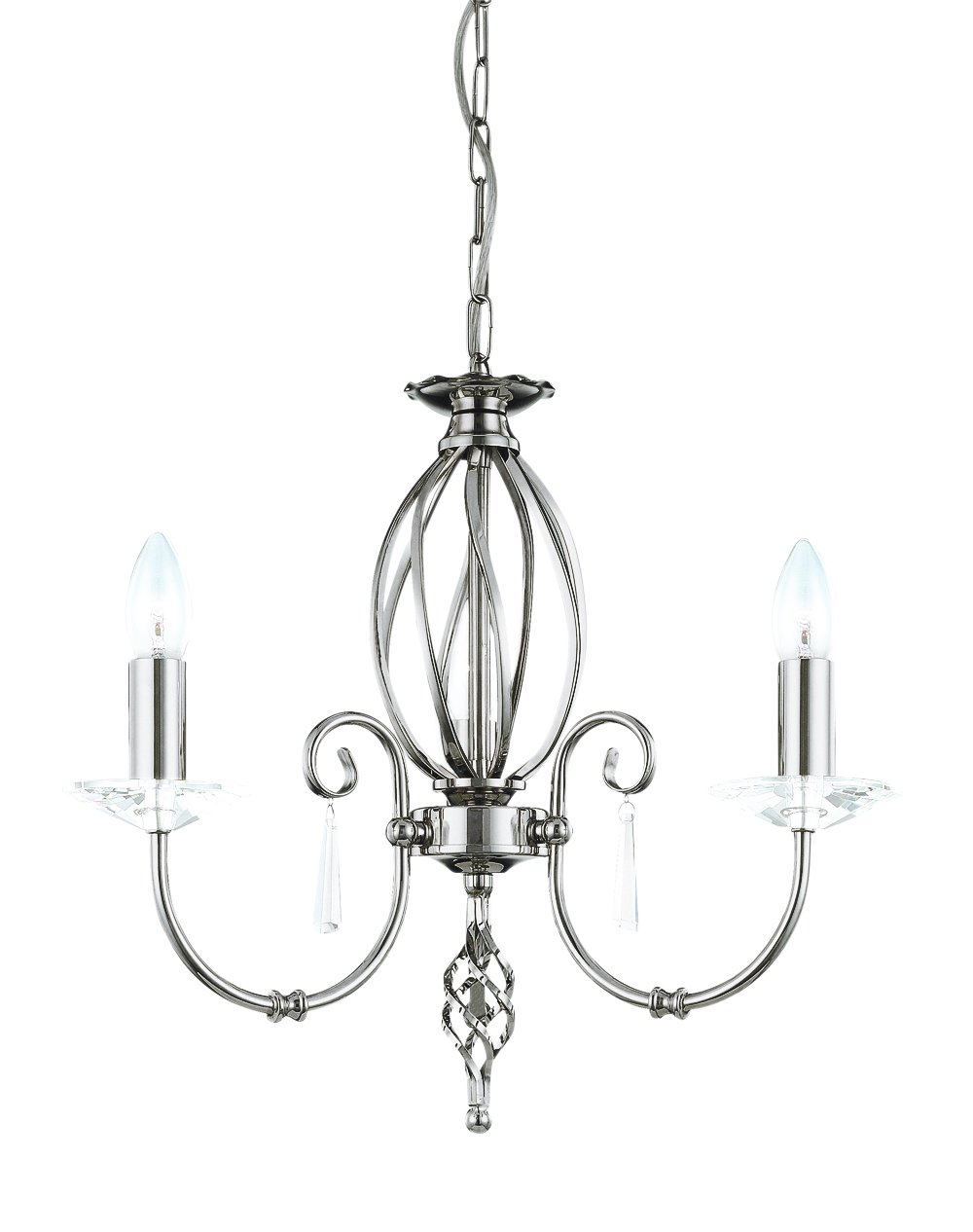 Elstead AG3-PN Aegean 3 Light Chandelier in Polished Nickel
