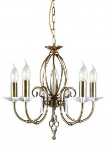 AG5-AB Aegean 5 Light Chandelier in Antique Brass
