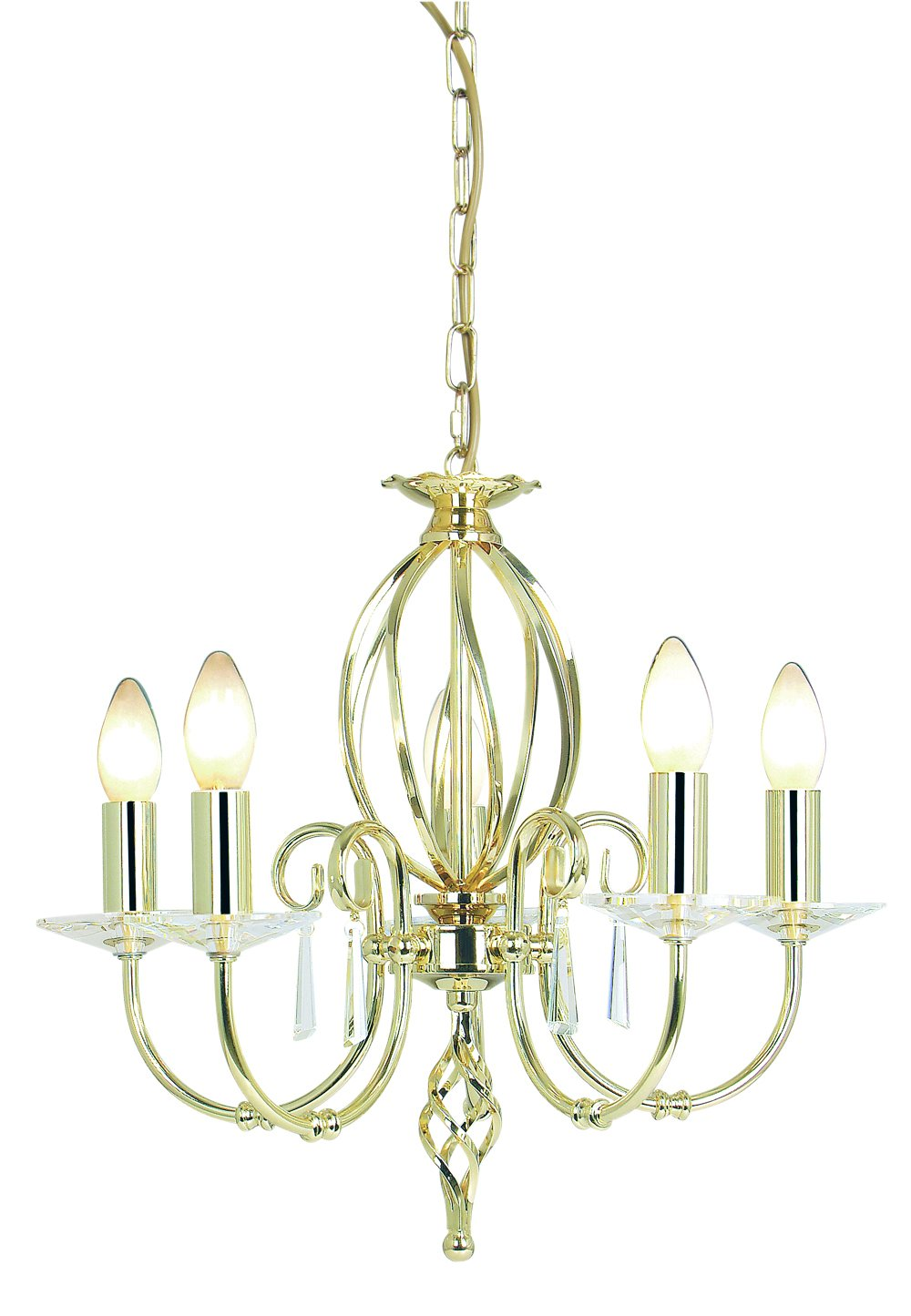 Elstead AG5-PB Aegean 5 Light Chandelier in Polished Brass