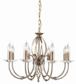 AG8-AB Aegean 8 Light Chandelier in Antique Brass